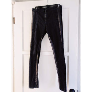 Forever 21 black jeggings w/faux leather detail